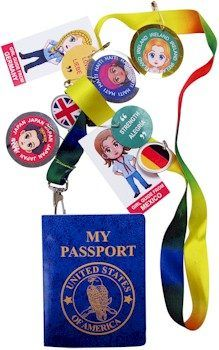 Passport and lanyard for your Girl Scout World Thinking Day event.  Plenty of blank pages that can be stamped as your girls work through the countries being represented at your International event. Available at MakingFriends.com