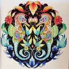 Lost ocean by @rackitang  #johannabasford #coloringbook #coloringforadults #coloring #art #arttherapy #arteterapia #arte #mandala #secretforestocean #secretgarden #enchantedforest #lostocean