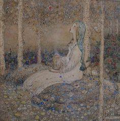 In The Woods  Artist: Annie French  Medium: Watercolour Glasgow Girls, Glasgow School Of Art, Fairytale Art, French Artists, Children's Book Illustration, Art Nouveau, Fantasy Art, French Artwork, Men Art