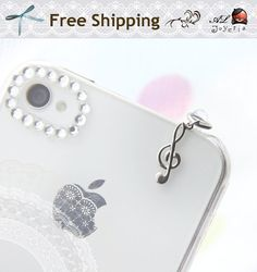 Music Note iPhone Earphone Plug. Treble Clef Cell Phone Charm. iPhone4, iPhone5, iPad, Samsung, iPhone Accessories. Free Shipping. $3.95, via Etsy.