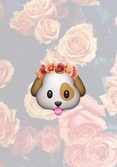 Cute wallpaper with this dog emoji and a background of flowers! Emojis Wallpaper, Cute Wallpaper For Phone, Dog Wallpaper, Wallpaper Iphone Disney, Cute Wallpaper Backgrounds, Tumblr Wallpaper, Cute Wallpapers, Wooden Wallpaper, Purple Wallpaper