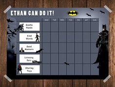 Batman Toddler Reward Chart / Behaviour Chart / Chore Chart / Instand Download / Routine