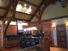 Beautiful Discovery Dream Homes Custom Timber Frame Kitchen in our North Rock Home  #Kitchen #NorthRock #TimberFrame #Custom #DiscoveryDreamHomes