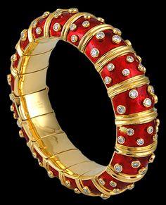 TIFFANY & Co. Diamond & Red Enamel Schlumberger Bangle - Yafa Jewelry
