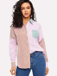 Preppy Striped and Colorblock Shirt Regular Fit Collar Three Quarter Length Sleeve Placket Multicolor Longline Length Pocket Front Color Block Striped Shirt Trench Dress, Spring Shirts, Blouse Styles, Printed Blouse, Shirt Blouses, Preppy, Fashion News, Casual, Clothes