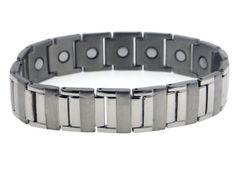 "Men's Heavy-Duty Sierra Link Titanium Chain 8.25"" Bracelet with Magnets"