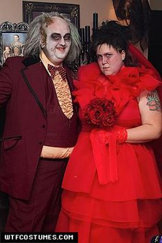 Beetlejuice and Lydia Wedding Costumes...how not to look..LMAO