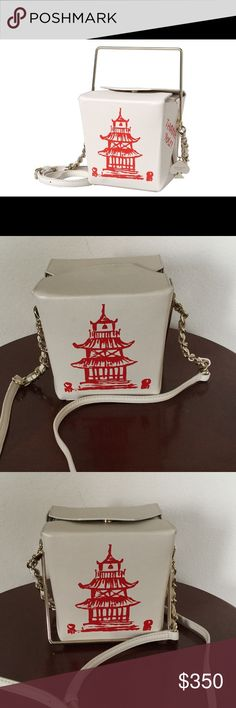 Kate Spade Chinese Takeout Box Bag RARE - Gently loved, excellent condition, ***NO TRADES*** A whimsical Kate Spade New York cross-body bag imitates a take-out box with 'Thank You' lettering and a pagoda graphic on smooth leather. A covered magnet fastens the folded tabs, and a gold-tone handle folds down in front. Lined, single-pocket interior. Optional, adjustable shoulder strap. Dust bag included.  Leather: Cowhide. Weight: 18oz / 0.51kg. Height: 6in / 15cm Length: 5.25in / 13.5cm Depth…