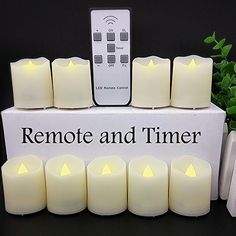 【Timer, 18 Pcs Batteries Included】9 Pcs LED Votive Tea Lights Candles Battery Operated Flickering Flameless Candles 2'' Dimmable Amber Yellow Flame Light with Remote