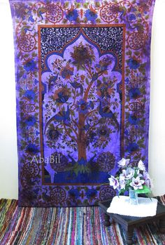 Tie Dye Tree Of Life Tapestry Indian Wall Hanging Bohemian Home Decorative Art #Handmade #BedspreadTapestry