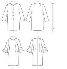 V9123 | Misses' Jacket, Belt and Dress | New Sewing Patterns | Vogue Patterns | Fall 2015