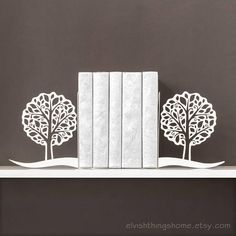 Book ends Trees Bookends Bookworm for her Metal bookends