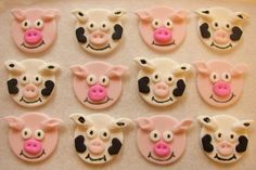 Fondant Cupcake Toppers  Pigs And Cows by CakesAndKids on Etsy, $15.95