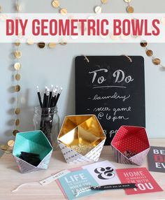 DIY Geometric Bowls! These fun bowls are made out of crafting paper from the Home+Made line! SO cute!