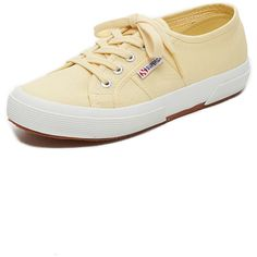 Superga 2750 Classic Cotu Sneakers ($46) ❤ liked on Polyvore featuring shoes, sneakers, pale yellow, superga, yellow canvas sneakers, plimsoll shoes, wide shoes and yellow sneakers