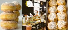 Bolas de Berlim, interior da loja do Areeiro (foto de Joaquim Gromicho), e pães-de-Deus, fotos D.R.]