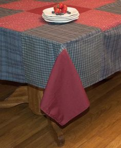 A Casual Country Look For Your Dining Table  The Huckleberry Hill Patchwork  Tablecloth Features Burgundy.