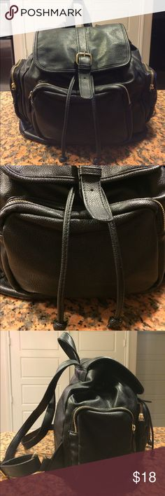 ▪️Forever 21 Black Faux Backpack▪️ Has gold accents, drawstring and adjustable straps. Minimal signs of wear. Pre-owned. Good Condition. Forever 21 Bags Backpacks