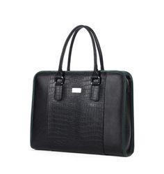 Elegant Genuine Crocodile Leather Upscale Business Men Black Bag | www.pilaeo.com