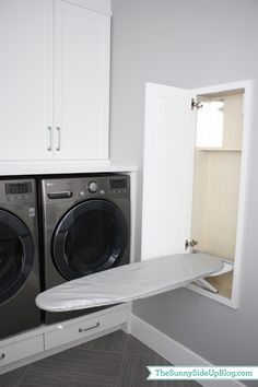 Sunny Side Up: Downstairs Laundry Room. with an outlet inside the cabinet