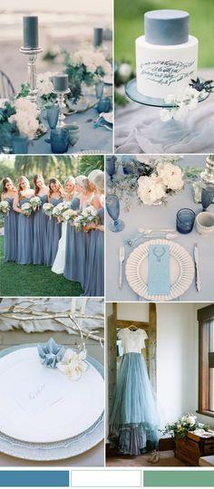 Niagara blue and white wedding color combo ideas for spring summer wedding 2017