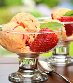 Creamy Mango Ice Cream w/Strawberry Swirl I love to make ice cream, especially when made with fresh fruit! This recipe is extra creamy and smooth and I love the sharp contrast of the sweet mango with the tart strawberries!