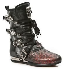 Black & Red Leather Hybrid Boots w Skull Buckles *May take up to 45 - 50 Days to Receive*-Quality Black & Red leather hybrid boots w paisley pattern from New Rock Shoes. Lacing up the front, Easy Zip on inner leg, 3 Skull buckles to adjust for co New Rock Boots, Paisley Pattern, Red Leather, Combat Boots, Skull, Lace Up, Legs, Metal, Sneaker