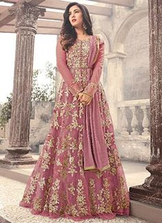 Light Pink Embroidered Net Anarkali Suit features a beautiful net top alongside a santoon bottom and inner. A chiffon dupatta completes the look. Embroidery work is completed with zari, thread, and stone. Indian Wedding Gowns, Pakistani Wedding Outfits, Indian Gowns, Pakistani Dresses, Indian Outfits, Indian Wear, Anarkali Dress, Lehenga, Saree
