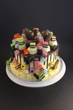 Licorice all sorts and chocolate fish for a old Dad 70th Birthday Cake, Homemade Birthday Cakes, Adult Birthday Cakes, Birthday Cookies, Happy Birthday, Fancy Cakes, Mini Cakes, Cupcake Cakes, Food Cakes
