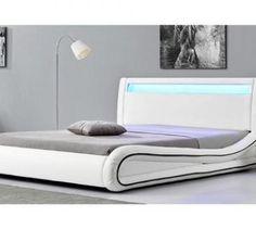 Lit de 2 places CONCEPT USINE Lit Richmond - Cadre de lit en simili cuir Blanc avec LED intégrées -140x190cm