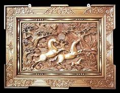 'Racing Horses' Panel Relief Wall Sculpture 3ft Exquisite Carved Art NOVICA Bali