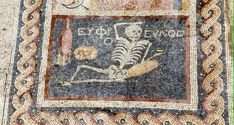Archaeologists find 2400 year old mosaic of a skeleton drinking wine