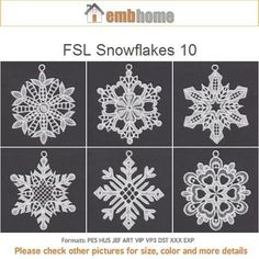 FSL Snowflakes 10 Free Standing Lace Ornament Machine by embhome