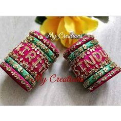 No photo description available. Silk Thread Bangles Design, Silk Thread Necklace, Silk Bangles, Bridal Bangles, Thread Jewellery, Fabric Earrings, Fabric Jewelry, Diy Jewellery Designs, Embroidery Neck Designs