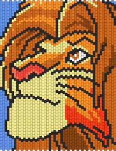 Pixel Art Ideas Templates Creations Easy / Anime / Pokemon / Game / Gird Maker Adult Simba From The Lion King bead patternAdult Simba From The Lion King bead pattern Pony Bead Patterns, Kandi Patterns, Hama Beads Patterns, Peyote Patterns, Beading Patterns, Cross Stitch Patterns, Bracelet Patterns, Crochet Lion, Crochet Cross