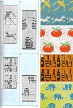 Pattern Library for Punch Card Knitters Intarsia Knitting, Knitting Charts, Knitting Stitches, Knitting Designs, Knitting Patterns, Brother Knitting Machine, Fair Isle Pattern, Mittens Pattern, Fair Isle Knitting