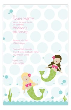 This Swimming Mermaids Invitation by Polka Dot Digital will make your little girl feel like a princess at her party. You know the swimming party for no reason that you'll be throwing for her this summer...