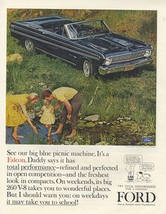 The Gas-electric or Hybrid Cars Retro Ads, Vintage Advertisements, Vintage Ads, 1964 Ford Falcon, Rockabilly Cars, Ford Classic Cars, Car Advertising, Us Cars, Old Ads