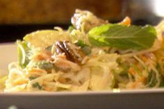Cole Slaw with Pecans and Spicy Dressing Recipe : Tyler Florence : Food Network Food Network Recipes, Cooking Recipes, Healthy Recipes, Skinny Recipes, Veggie Recipes, Healthy Meals, Delicious Recipes, Keto Recipes, Tyler Florence Recipes
