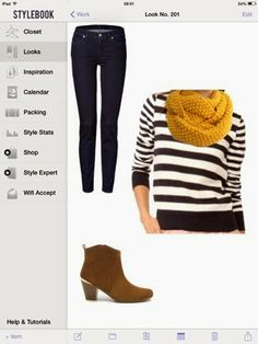 What to wear with navy striped sweater: skinny jeans and suede boots