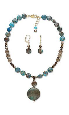 Jewelry Design - Single-Strand Necklace and Earring Set with Blue Sky Jasper Gemstone Beads, Cultured Freshwater Pearls and Smoky Quartz Gemstone Beads - Fire Mountain Gems and Beads