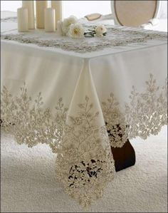 Home Sweet Home Table Cloth Models, especially kitchen table covers, . Antique Lace, Vintage Lace, Shabby Chic, Rico Design, Boho Home, Crochet Tablecloth, Linens And Lace, Lace Making, Cutwork