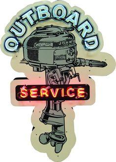 Outboard Service Boat Motor Die-Cut Porcelain & Neon
