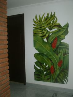 Hotel Boutique Costa do Sol Tropical Art, Tropical Flowers, Art Mural, Wall Murals, Art Decor, Decoration, Bedroom Murals, Plant Art, Art Graphique