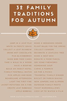 32 Autumn Family Traditions Printable: What's your favourite Fall tradition?