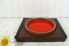 Vintage Orange Ceramic Sand Wood & Leather Ashtray by DivineOrders, $22.00
