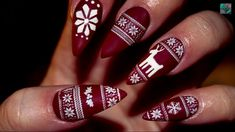 Cute Matte Christmas Sweater Stiletto Nails | I'm in love! Nail Design, Nail Art, Nail Salon, Irvine, Newport Beach