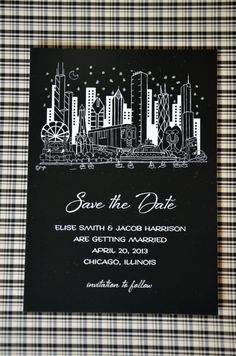 This Save The Date is available with or without glitter to accentuate the night sky.  A Chicago themed wedding distinguishes itself by using our amazing Chicago skyline design. You can carry through the Chicago theme with our Chicago Couple and Chicago Junior designs for smaller products like beverage napkins or favor bags. The Chicago themed designs are available in full color.  Chicago is our kind of town. And this Save The Date will get your guests packing their bags and heading your way.