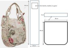 patrones de bolsos en tela Diy Bags Patterns, Denim Tote Bags, Cloth Bags, Jewelry Crafts, Diy And Crafts, Reusable Tote Bags, Stitch, Purses, Sewing