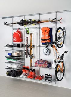 Elfa Garage Shelving And Storage. Great For Storing Skis To Bikes To  Camping Equipment The Container Store